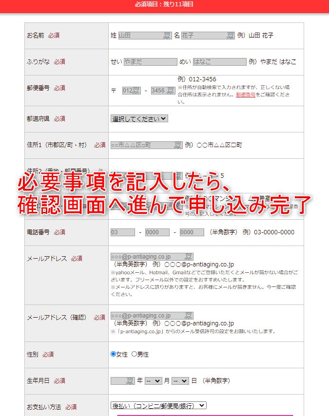 DUOクレンジングバーム 公式サイト申し込み手順2